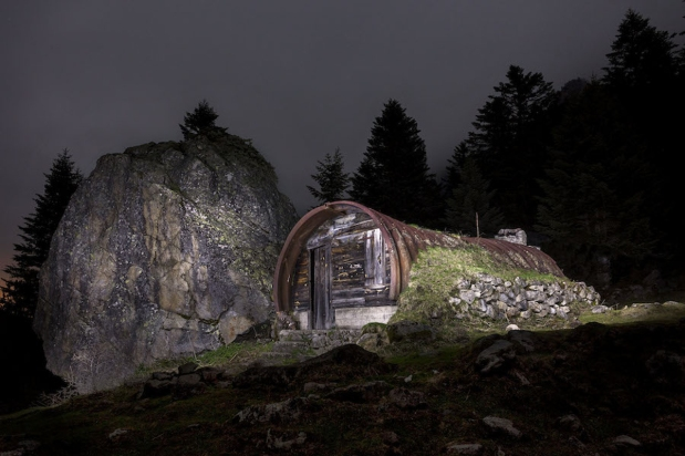 Dramatic shots of mountain cabins in the French Pyrenees