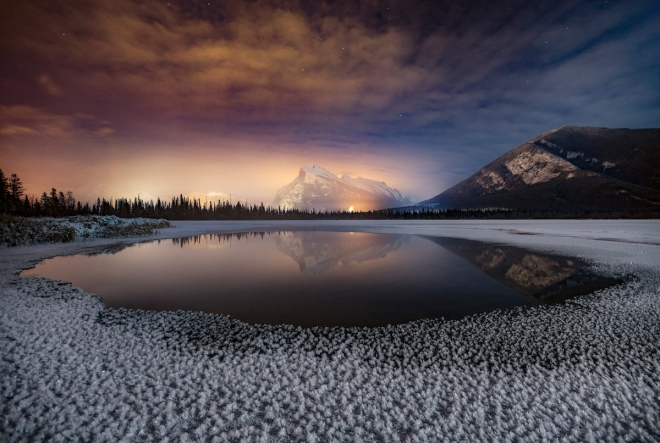 Hoar frost at Vermilion Lakes. Photo by Paul Zizka Photography.